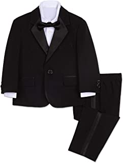 Boys' 4-Piece Tuxedo Set with Dress Shirt, Bow Tie, Jacket, and Pants
