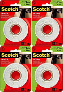 Scotch Indoor Mounting Tape, White, 0.5 in x 75 in (Pack of 4)