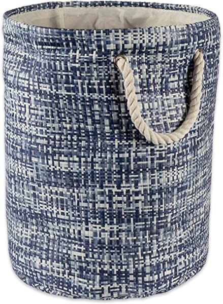 DII Woven Paper Basket Or Bin Collapsible Convenient Home Organization Solution For Bedroom Bathroom Dorm Or Laundry Large Round 15x20 Nautical Blue Tweed