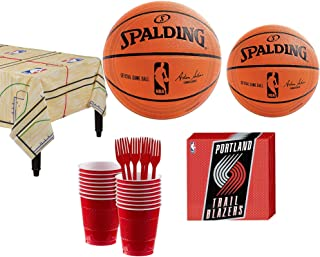 Party City Portland Trail Blazers Party Kit 16 Guests, Includes Table Cover, Plates, Napkins and More