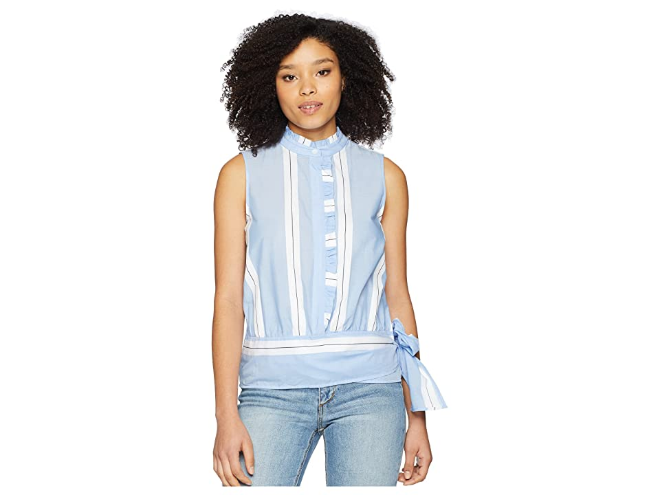 Vince Camuto Sleeveless Ruffle Front Tie Waist Yarn-Dyed Stripe Shirt (Ultra White) Women