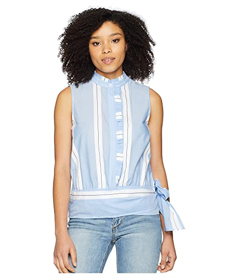 a1859071644c09 Vince Camuto Sleeveless Ruffle Front Tie Waist Yarn-Dyed Stripe ...