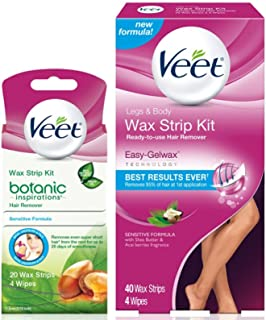 Hair Removal Kit, Veet Leg & Body Wax Strip Kit (40 Ct.) & Veet Botanic Inspirations Sensitive Formula Wax Strip Kit 20 Wax Strips and 4 Wipes- for Bikini, Underarm, Face & Body