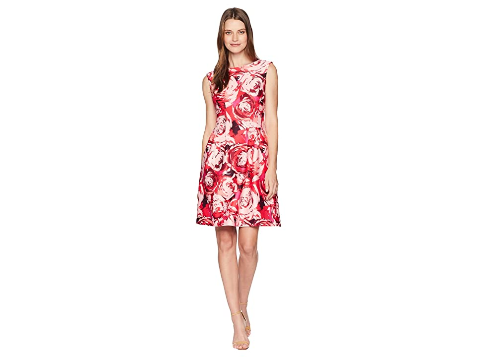Taylor Rose Print Fit-and-Flare Dress (Fuchsia Pink) Women