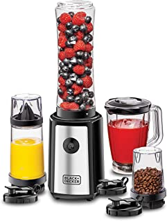 Black+Decker 300W 16 Piece 4-in-1 Personal Compact Sports Blender/Smoothie Maker with Citrus Juicer & Grinder Mill, Silve...
