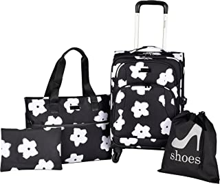kensie White Flowers 4 Piece Fashion Luggage and Travel Set