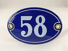 Emaille huisnummerbordje nr. 58, ovaal, blauw-wit Nr. 58 Blau-Weiß