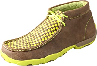 Men's Yellow and Checkerboard Driving Mocs