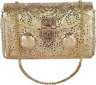 Bridal Golden Women's Antique Brass Purse Ethnic Handmade Metal Clutch Bag