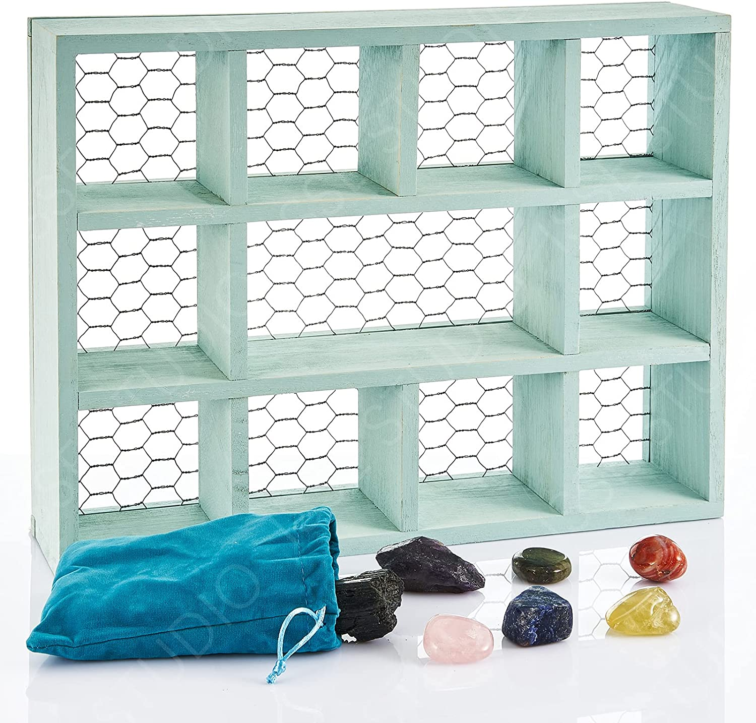 Crystal Display Shelf - 7 Premium Crystals w Green Rustic Wall Mounted Floating Shelf for Farmhouse Décor with Chicken Wire for Eggs, Succulents, Spices, Rocks, Countertop Organizer, Shadow Box