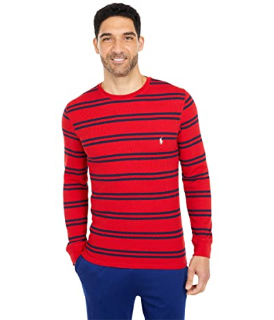 Polo Ralph Lauren Midweight Waffle Stripe Long Sleeve Crew (RL2000 Red/Cruise Navy Stripe/Nevis Pony Player) Men