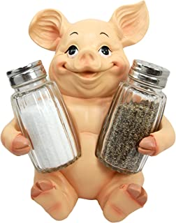 Ebros Gift Animal Farm Barn Porky Pig Salt Pepper Shakers Holder Figurine Piggy Pigs Whimsical Pork Bacon Piglet Statue Spice Organizer