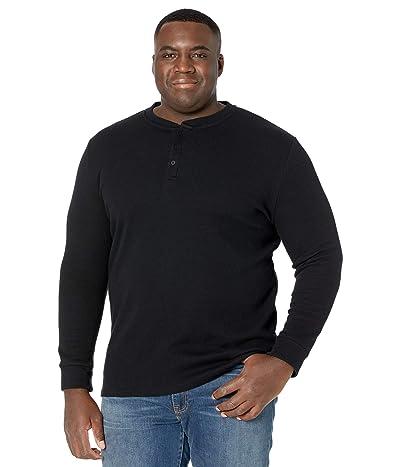 Johnny Bigg Big Tall Waffle Henley Long Sleeve Top (Black) Men