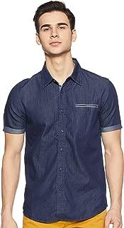CHEROKEE Men's Solid Regular fit Casual Shirt (400018130124_Blue-Ds M)