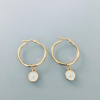 Cerchi lunari, orecchini a cerchi dorati a forma di luna e perle turchesi e dorate, gioielli da donna, creoli dorati, gioi...