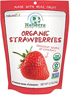 Natierra Nature's Organic Freeze-Dried Strawberries | Gluten Free & Vegan | 1.2 Ounce (Pack of 3)