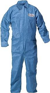 Kleenguard Chemical Resistant Suit, A60 Bloodborne Pathogen & Chemical Splash Protection Coveralls (45233), Zip Front, Large, Blue, 24 Garments/Case