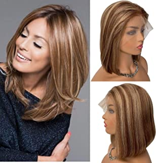 Lace Front Wigs Brazilian Human Hair Omber Wig 8 inch Chestnut Brown Roots Highlights Beige Blonde Balayage 13x4 Pre Plucked Straight and Soft #6T6/18 150% Density for Women