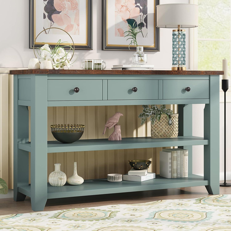 Farmhouse Wood Console Table 価格交渉OK送料無料 48-Inch Modern 期間限定 Draw Sofa with