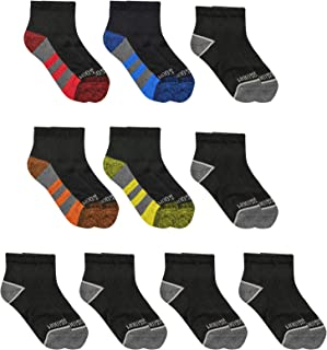 Fruit of the Loom Boys Zone Cushion Ankle Socks 10 Pack, Large, Black Assorted