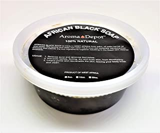 Aroma Depot 8 oz Raw African Black Soap Paste 100% Natural soap for Acne, Eczema, Psoriasis, and Dry Skin Scar Removal Face And Body Wash. Handmade imported from Ghana