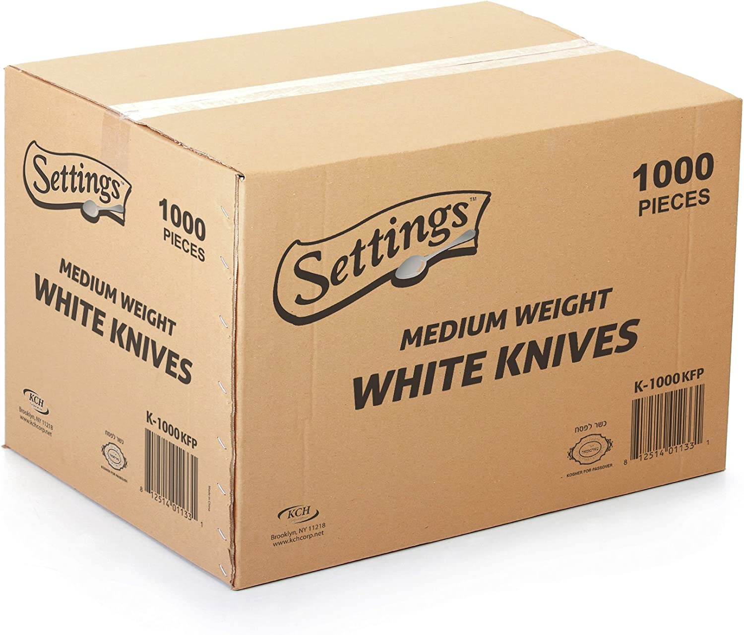 [1000 Count] Settings Plastic White Knives, Practical Disposable Cutlery, Great For Home, Office, School, Party, Picnics, Restaurant, Take-out Fast Food, Outdoor Events, Or Every Day Use, 1 Box