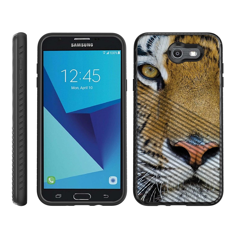 TurtleArmor | Compatible for Samsung Galaxy J7 2017 Case | J7 Prime | J7 Sky Pro | Engraved Grooves Shell Shockproof Hybrid Fitted TPU Case Animal Design - Tiger Stare