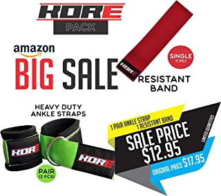 KORE Ankle Straps for Cable Machines (1 Pair) with Hip Resistance Band - Padded Fitness Leg Bands - Cable Machine Accessories - Kickback Strap Set for Women - Calf Workout Cuff for Gym