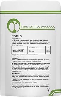 Vitamin K2 (MK-7) 500mcg K2 MK7 Tablets Natural Heart Bone Health & Calcium Efficiency | Natural Foundation Supplements (3 Tablet Sample)