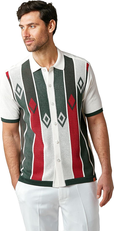 Men's Vintage Clothing | Retro Clothing for Men EDITION S Mens Short Sleeve Knit Shirt- California Rockabilly Style: Multi Stripes  AT vintagedancer.com
