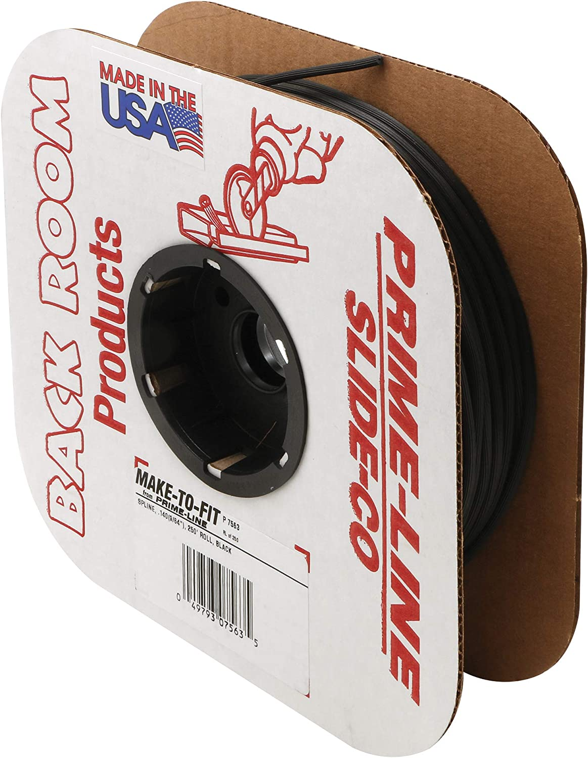 Prime-Line Products P 7563 Screen Retainer Spline, .140-in(9/64-in), 250-ft Roll, Black (packaging may vary)