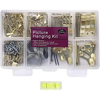 Picture Hangers, Quality Picture Hanging Kit, 225pcs Heavy Duty Frame Hooks Hardware with Nails, Hanging Wire, Screw Eyes, D Ring and Sawtooth for Wall Mounting
