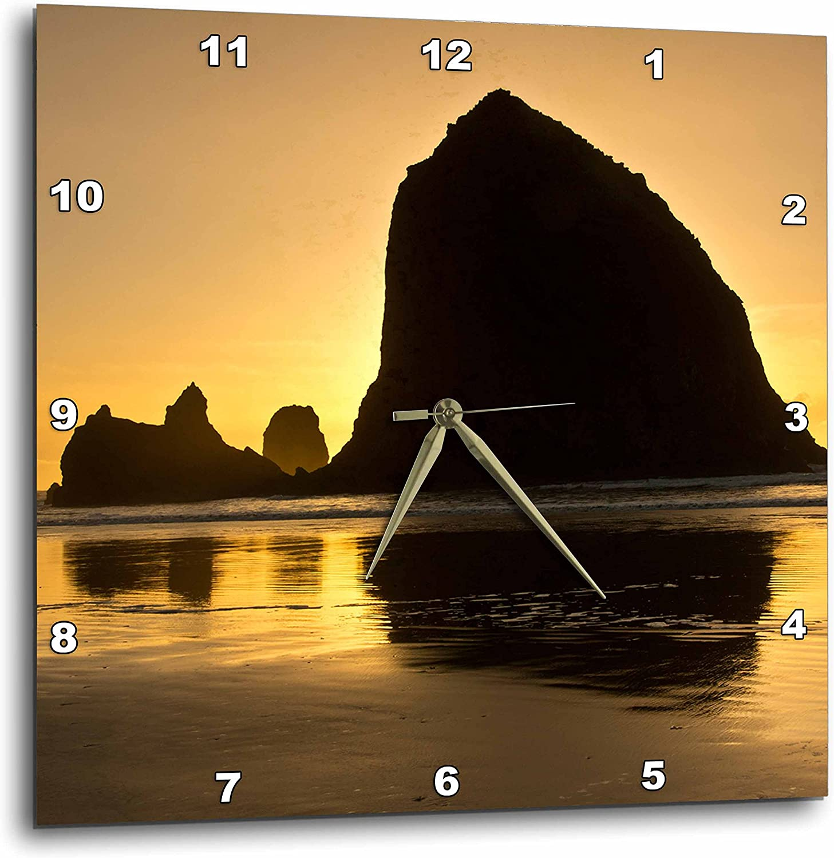 3D pink Sunset - Cannon Beach - Oregon - USA Wall Clock, 15  x 15
