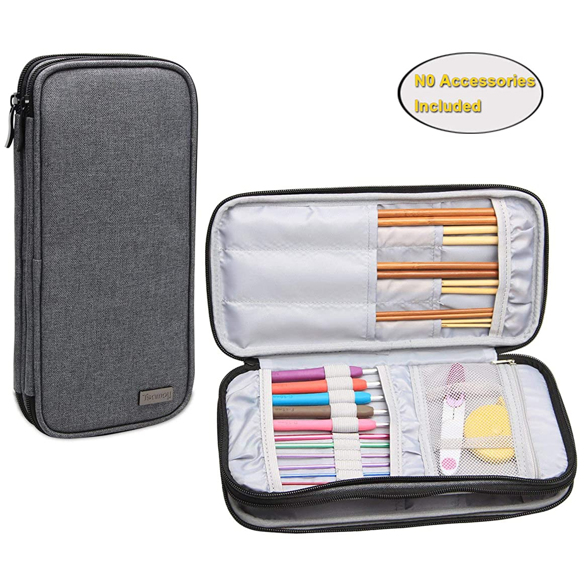 Teamoy Knitting Needles Case(up to 10-Inch), Travel Organizer Storage Bag for Circular and Straight Knitting Needles, Crochet Hooks and Knitting Accessories, Gray-NO Accessories Included