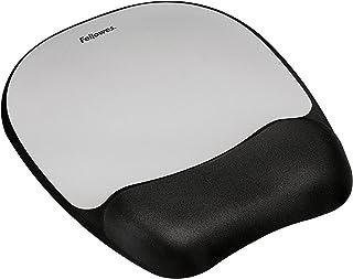 Fellowes Memory Foam Mousepad Wrist Rest, Silver Streak