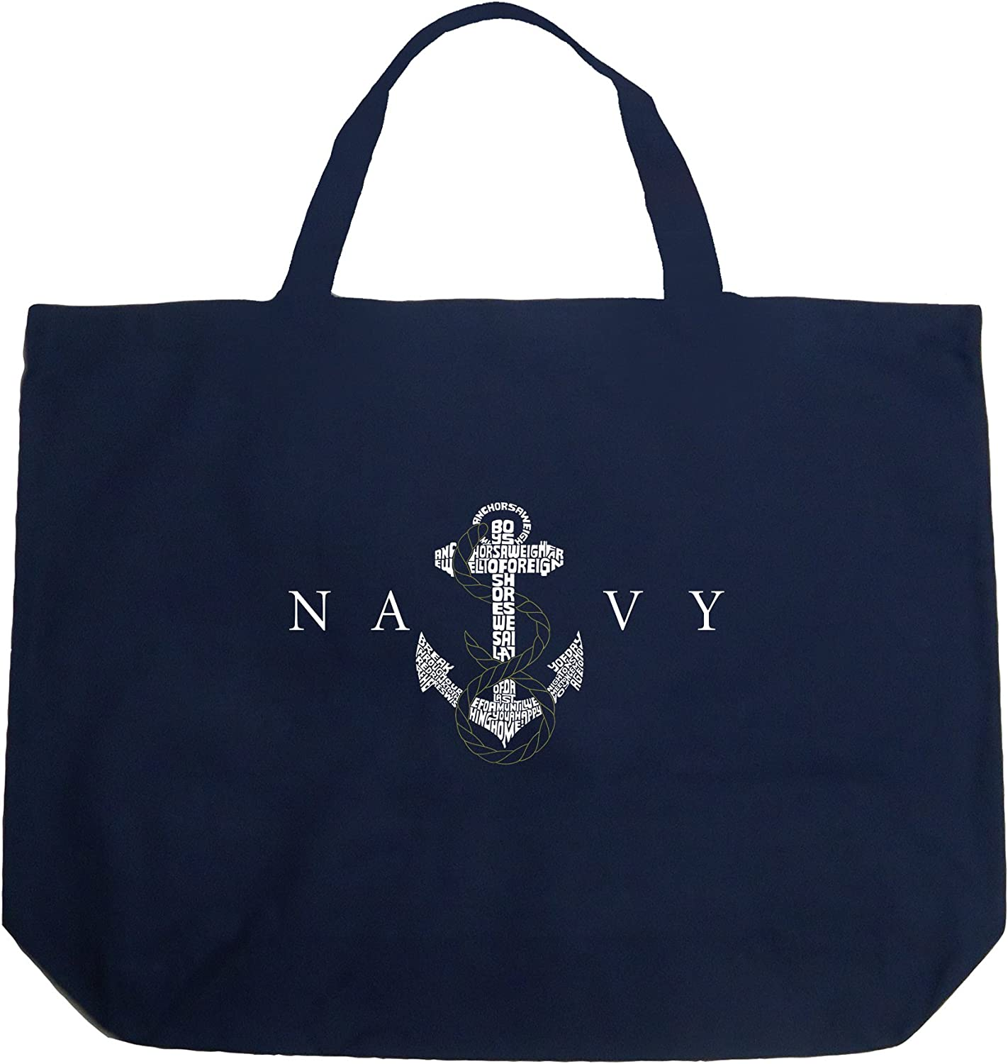 LA POP Today's only ART Word Art Large Tote Anchors Lyrics Navy Bag US - High order to