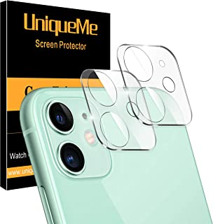 UniqueMe [2 Pack] Protector de Lente de cámara para iPhone 11 cámara Protector de Pantalla [9H Dureza ] [Sin Burbujas] Cristal HD Vidrio Templado para iPhone 11 cámara