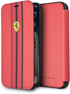 CG Mobile Ferrari Bookstyle Pu Leather Case for iPhone X and iPhone Xs Hard Cell Phone Cover Red with Contrasting Black-Re...