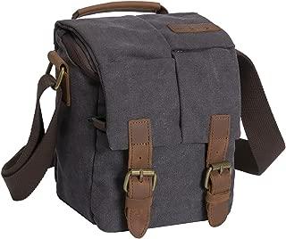 Waterproof Canvas Leather Trim DSLR SLR Shockproof Camera Shoulder Messenger Bag (Dark Grey)