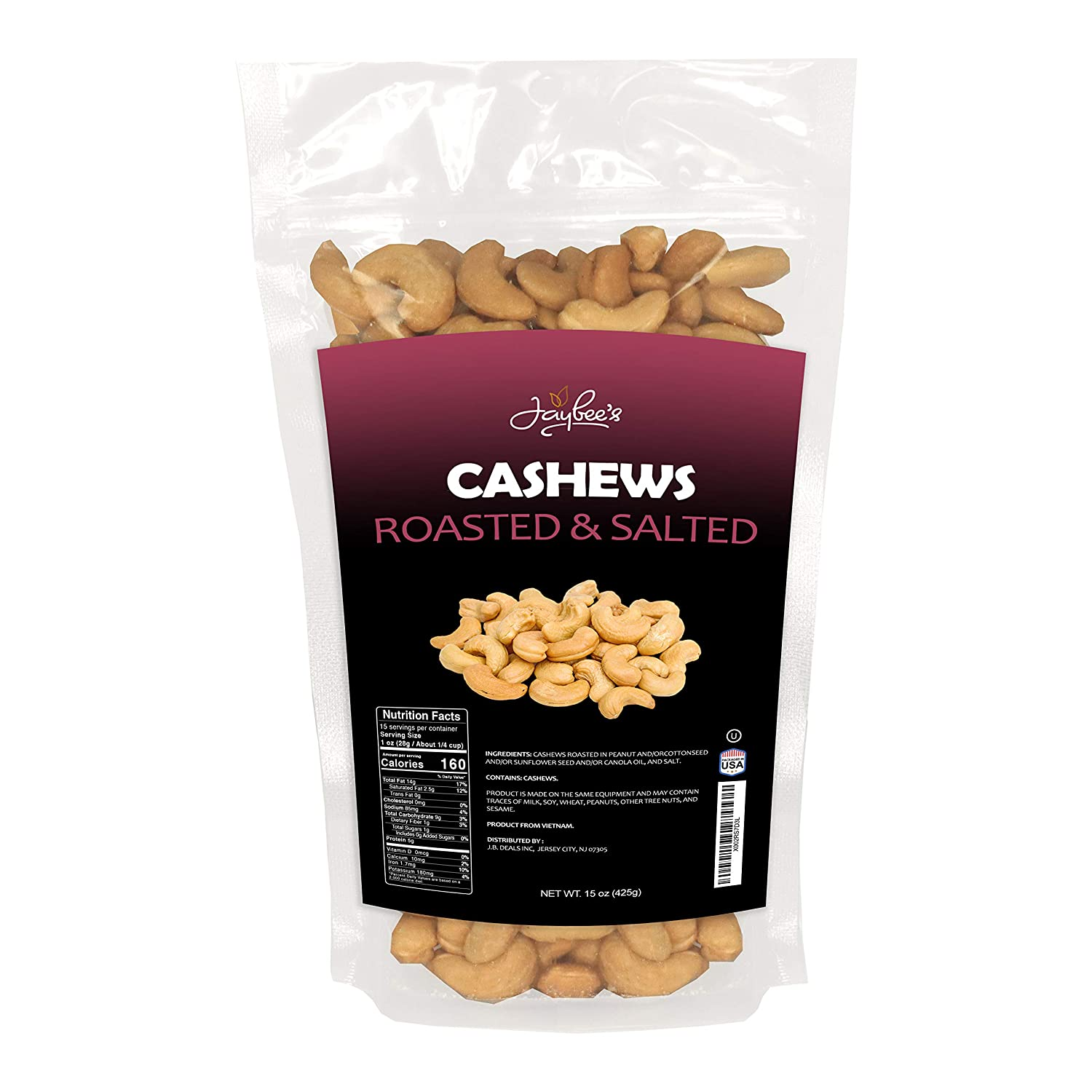 Jaybee's Whole Cashews Roasted & Salted 15 oz - Daily Healthy Snack, Rich in Nutrients, Vitamins, Protein, Vegan, Keto Friendly - Kosher Certified