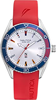Nautica Men's Finn World Brass Plated Stainless Steel Quartz Silicone Strap, Red, 22 Casual Watch (Model: NAPFWS002)