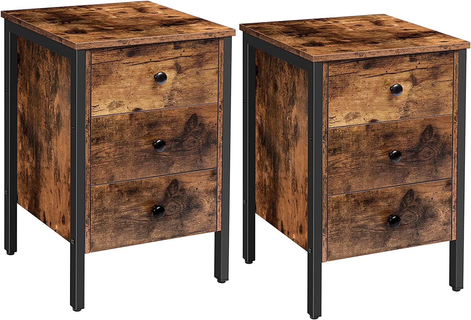 HOOBRO Nightstands Set of 2, End Table with 3 Drawers and Storage Shelf, Retro Industrial Style End Table, for Living Room, Bedroom, Easy Assembly, Rustic Brown and Black BF46BZP201