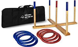 Yard Games Giant Ring Toss with Soft-Touch Tossing Rings and Finished Wood Target