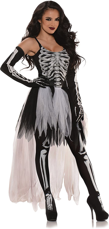 LADIES SKELETON TUTU COSTUME HALLOWEEN FANCY DRESS PLUS BONE PRINT TIGHTS
