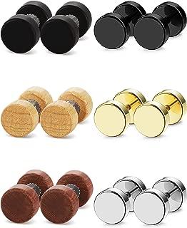 6 Pairs Stud Earrings for Men Women Ear Piercing Ear Plugs Tunnel 18G