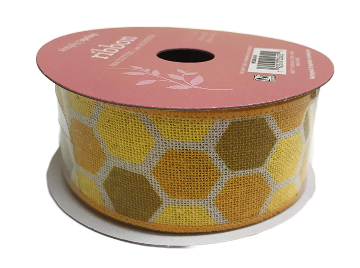 Yellow Honey Comb Print Wired Edge Decorative Spring Summer Crafting Gift Ribbon 1.5