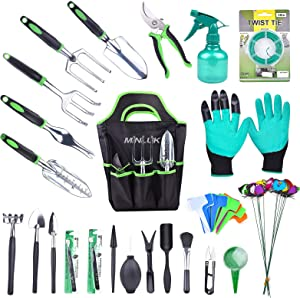 MINLUK 54PCS Garden Tools Set, Heavy Duty Metal Garden Tools Fleshy Tool Set, Non-Slip Handle Material, Durable Storage Bag and Gloves, Gardening Gifts for Men and Women