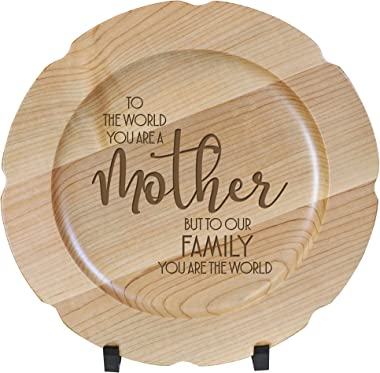 LifeSong Milestones Wooden Decorative Plate Family Keepsake 12in to The World Mother Housewarming Home Wall Decor Kitchen Kee