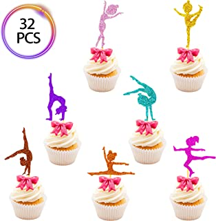 QMZ 35 Pcs Girl Gymnastics Cupcake Toppers Ballet Girl Birthday Baby Shower Glitter Dancer Cake Toppers Decorations