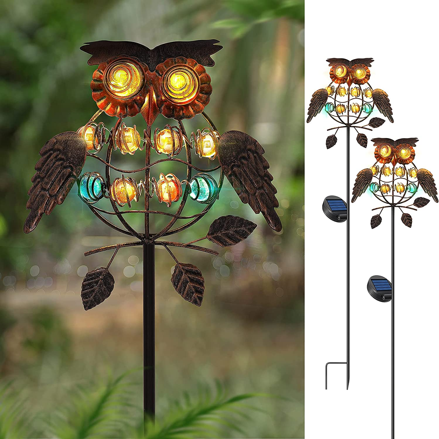 Solar Garden Lights, Solar Lights Outdoor Decorative, Owl Metal Stakes Light Solar Powered, LED Pathway Decoration Waterproof Landscape Lighting for Lawn Patio Walkway Yard Decor - 2 Pack